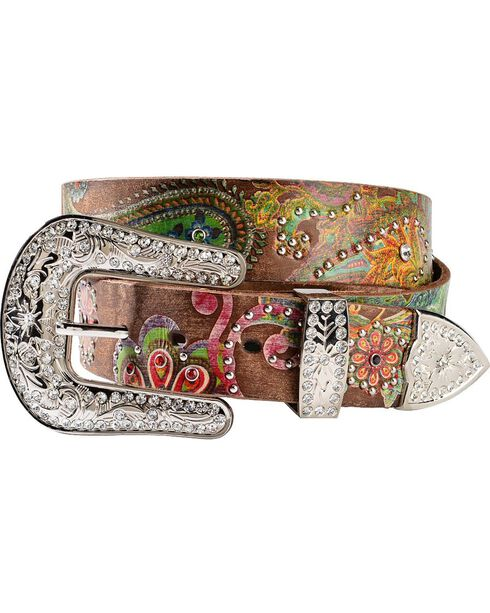 Nocona Belt Co Women's Floral and Paisley Print Belt, Brown, hi-res