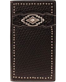 Ariat Black Basketweave Aztec Concho Rodeo Wallet, , hi-res