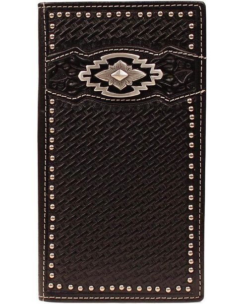 Ariat Black Basketweave Aztec Concho Rodeo Wallet, Black, hi-res