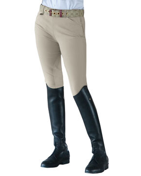 Ovation Girls' Euroweave Sidezip Breeches, Tan, hi-res