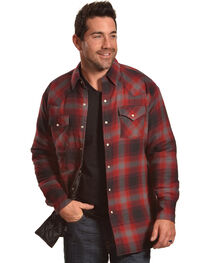 Ely Cattleman Men's Red Quilted Flannel Jacket , , hi-res