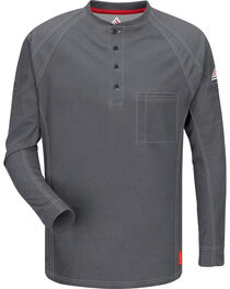 Bulwark Men's Grey iQ Series Flame Resistant Henley Shirt , , hi-res