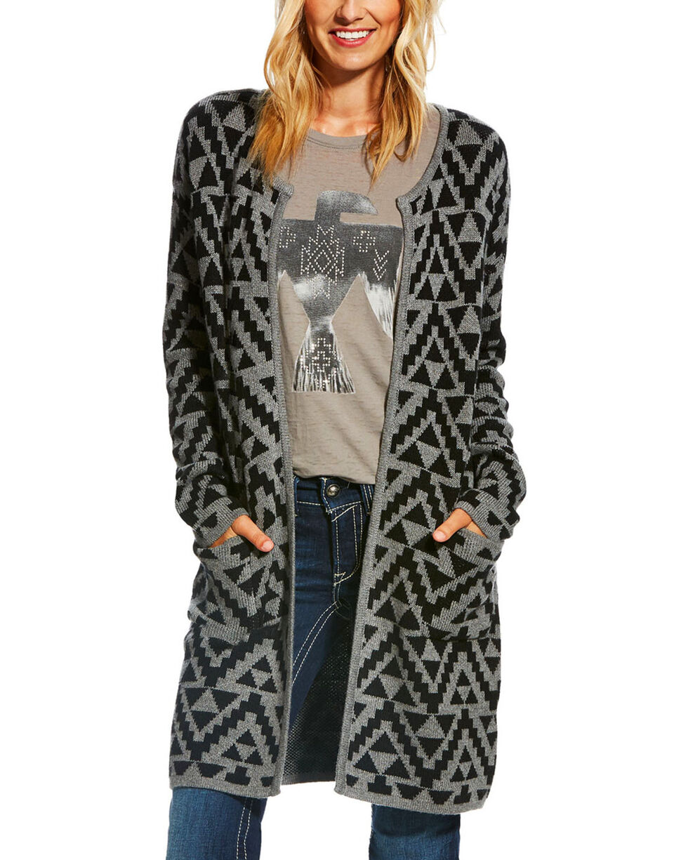 Ariat Women's Aztec Print Open Front Cardigan , , hi-res