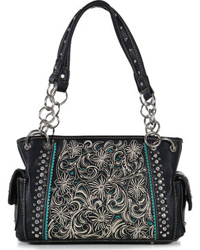 Shyanne® Women's Floral Concealed Weapon Handbag, Black, hi-res