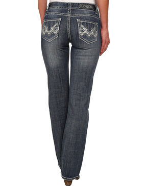 Rock & Roll Cowgirl Women's Mid Rise Dark Wash Boot Cut Jeans, Indigo, hi-res