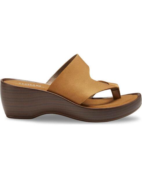 Eastland Women's Laurel Wedge Thong Sandals, Tan, hi-res