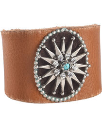 Cowgirl Confetti by AndWest Silver Starburst Concho Leather Cuff, , hi-res