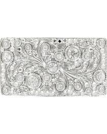 Nocona Women's Rectangle Crystal Scroll Buckle, , hi-res