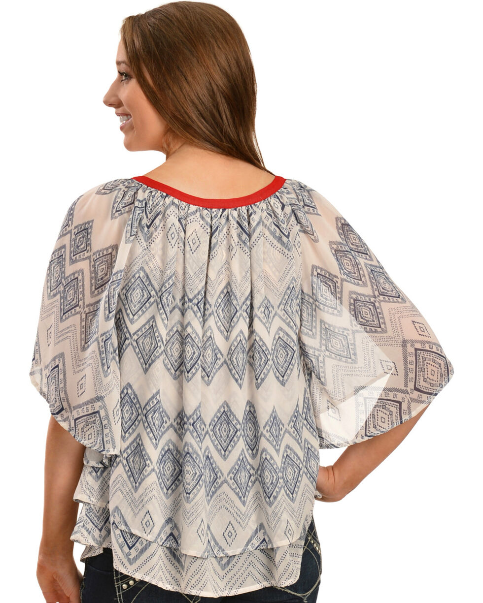 Ariat Women's Lucinda Printed Poly Chiffon Tunic, Multi, hi-res