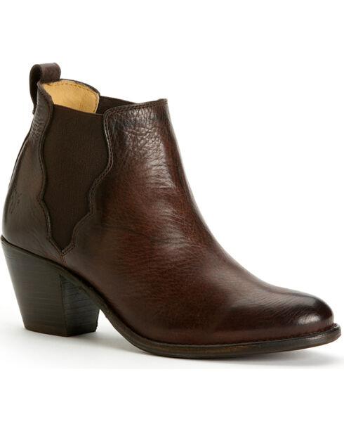Frye Women's Jackie Gore Stitching Horse Boots - Round Toe, Walnut, hi-res