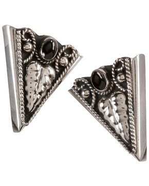 Western Stone Collar Tips, Black, hi-res