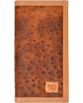 Tony Lama Ostrich Print Rodeo Wallet, Tan, hi-res
