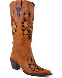 Roper Women's Floral Rose and Skull Western Boots, , hi-res