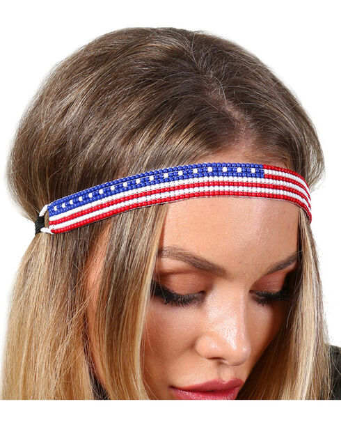 Shyanne® Women's Beaded American Flag Headband, Multi, hi-res