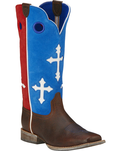 Ariat Boys' Ranchero Patriotic Cowboy Boots - Square Toe, Brown, hi-res