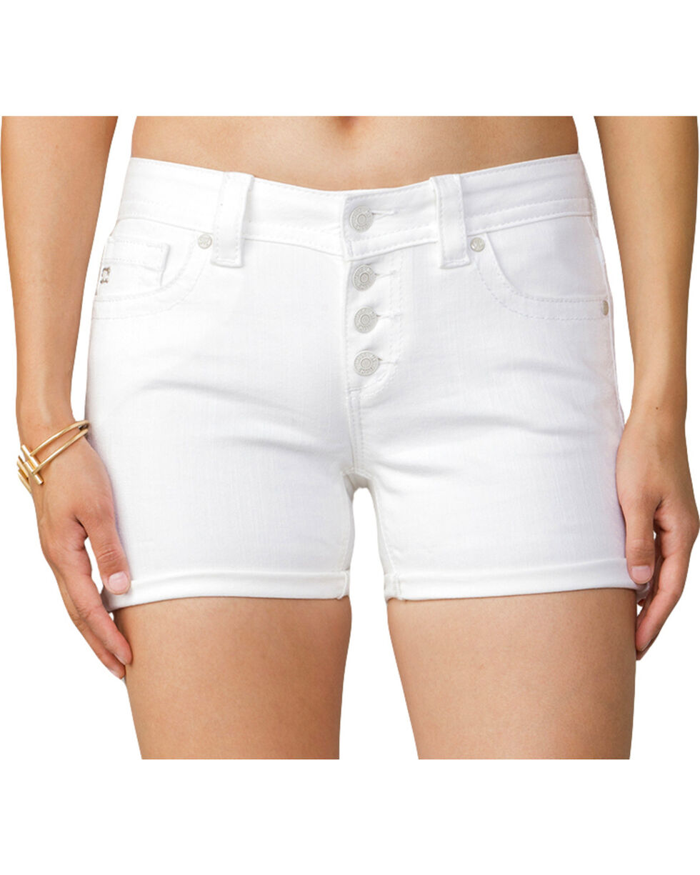 Miss Me Women's Keeping Score Mid-Rise Shorts, White, hi-res