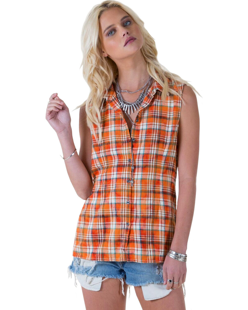 White Crow Women's Plaid and Lace Flip-Side Top, Sunset, hi-res