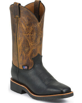Chippewa Men's Black Pitstop Arroyos Pull-On Western Work Boots - Square Toe, Black, hi-res
