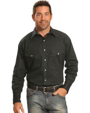 Crazy Cowboy Men's Black Western Work Shirt - Big & Tall, Black, hi-res