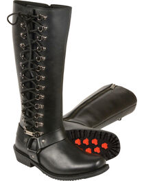 "Milwaukee Leather Women's 14"" Full Lacing Classic Harness Boots - Square Toe, Black, hi-res"