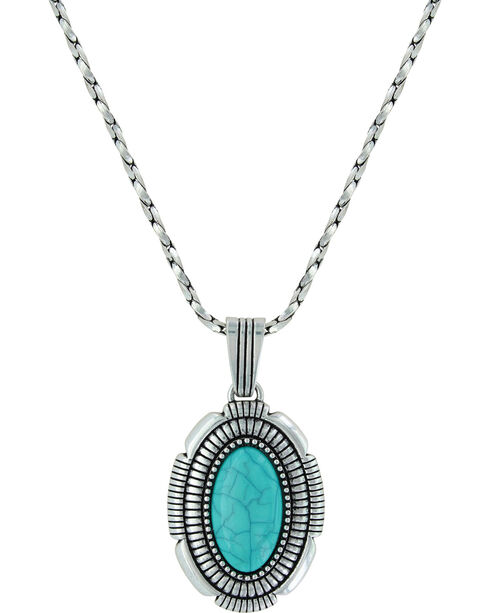 Montana Silversmiths Women's Southwest Hatched Oval Pendant Necklace , Silver, hi-res