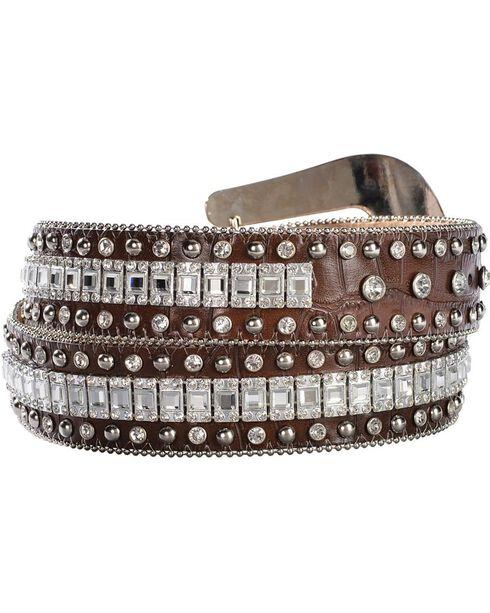 Nocona Crystal Croc Print Leather Belt, Brown, hi-res