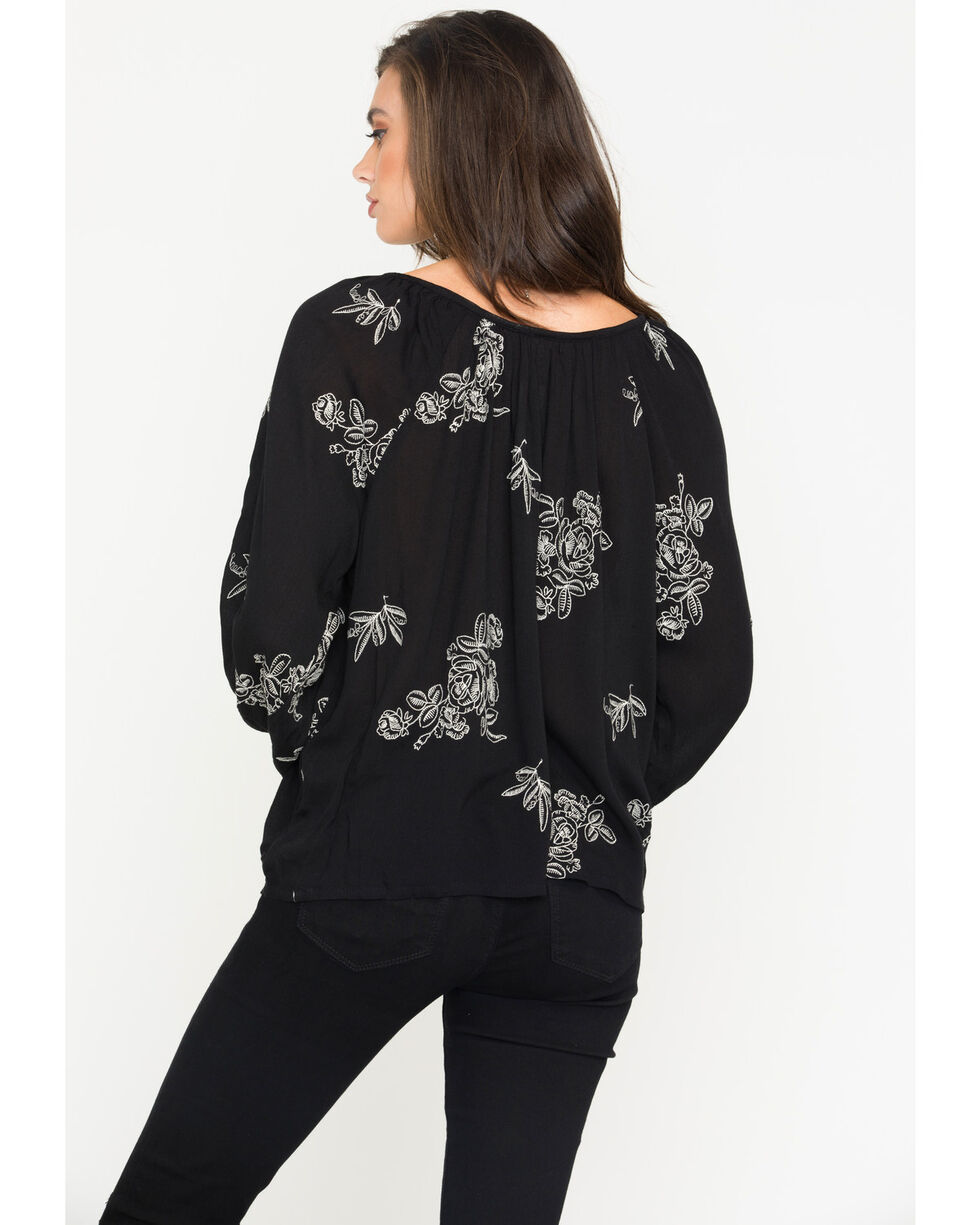 Obsessive Love Women's Floral Embroidered Tassel Tie Long Sleeve Top, Black, hi-res