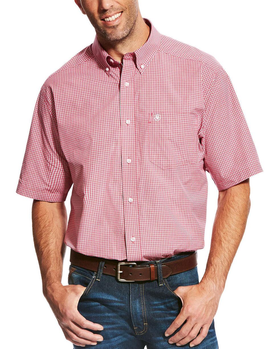 Ariat Men's Red Lindale Short Sleeve Plaid Shirt , Red, hi-res