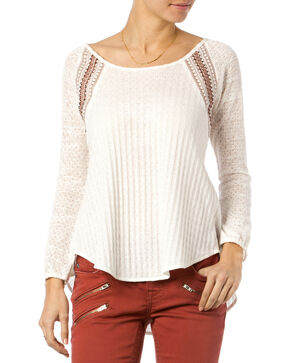 Miss Me Natural Mix-Match Crochet Long Sleeve Top , Natural, hi-res
