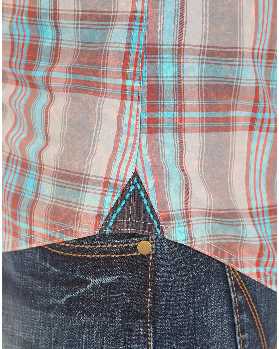 Wrangler Rock 47 Men's Plaid Two Pocket Long Sleeve Snap Shirt, Grey, hi-res