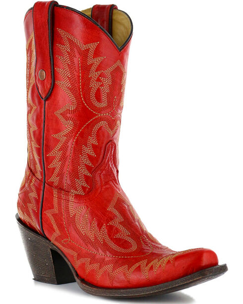 "Corral Women's Picasso 10"" Western Boots, Red, hi-res"