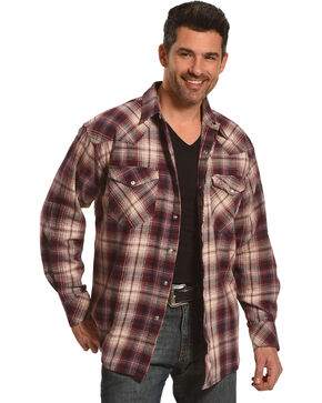 Resistol Men's Burgundy Plaid Nicholson Western Shirt , Navy, hi-res