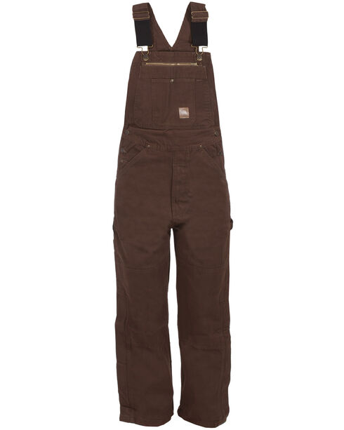 Berne Bark Unlined Washed Duck Bib Overalls - Short Size (30), Bark, hi-res