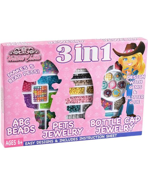3-in-1 Bead Jewelry Set, Pink, hi-res