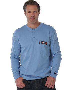 Cinch WRX Men's Flame Resistant Long Sleeve Henley Shirt, Blue, hi-res
