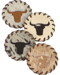 BB Ranch Longhorn Cowhide Coaster, , hi-res