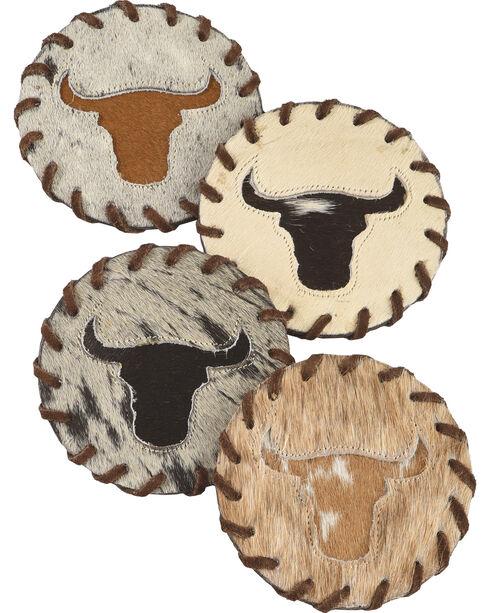 BB Ranch Longhorn Cowhide Coaster, Grey, hi-res