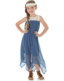 Wrangler Girls' Sleeveless Dress with Crochet and Taping, Navy, hi-res