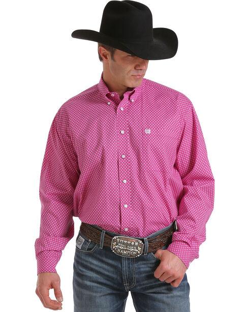 Cinch Men's Patterned Button Down Long Sleeve Shirt, Fuchsia, hi-res