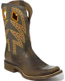 Nocona Men's Zig Zag Saddle Stitch Cowboy Boots - Square Toe, , hi-res