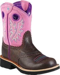 Ariat Fatbaby Youth Girls' Bubblegum Cowgirl Boots, Chocolate, hi-res