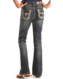 Grace in LA Girls' Bling Embroidered Boot Cut Jeans, , hi-res