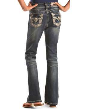 Grace in LA Girls' Bling Embroidered Boot Cut Jeans, Indigo, hi-res