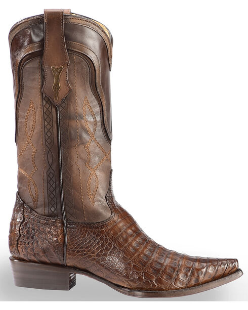 Corral Men's Tobacco Caiman Contrast Collar Cowboy Boots - Snip Toe, Dark Brown, hi-res