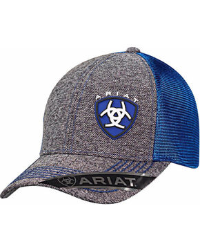 Ariat Men's Blue Shield Logo Baseball Cap , Grey, hi-res