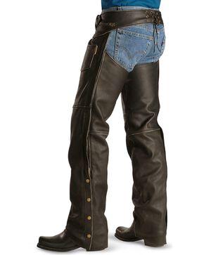 Milwaukee Unisex Crazy Horse Leather Motorcycle Chaps, Black, hi-res