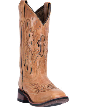 Laredo Women's Crosswing Broad Square Toe Western Boots, Tan, hi-res