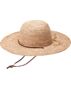 "Peter Grimm Ginko 4 1/4"" Natural Raffia Straw Sun Hat, Natural, hi-res"