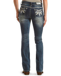 Grace in LA Women's Blue Feather Embroidered Jeans - Boot Cut , , hi-res