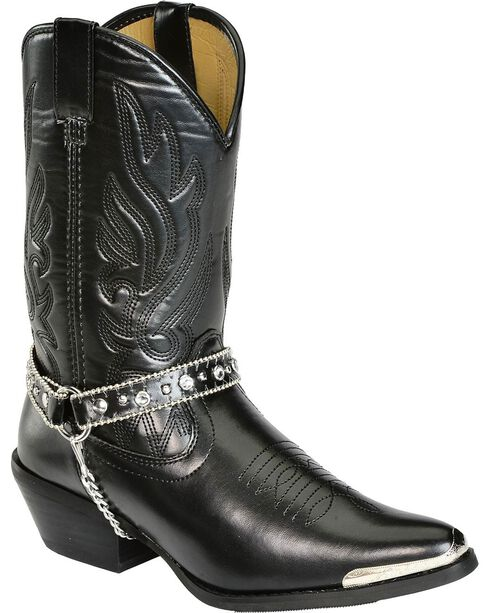 Smoky Mountain Charlotte Harness Cowgirl Boots - Pointed Toe, Black, hi-res
